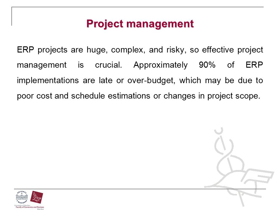 Project management ERP projects are huge, complex, and risky, so effective project management is crucial. Approximately 90% of ERP implementations are