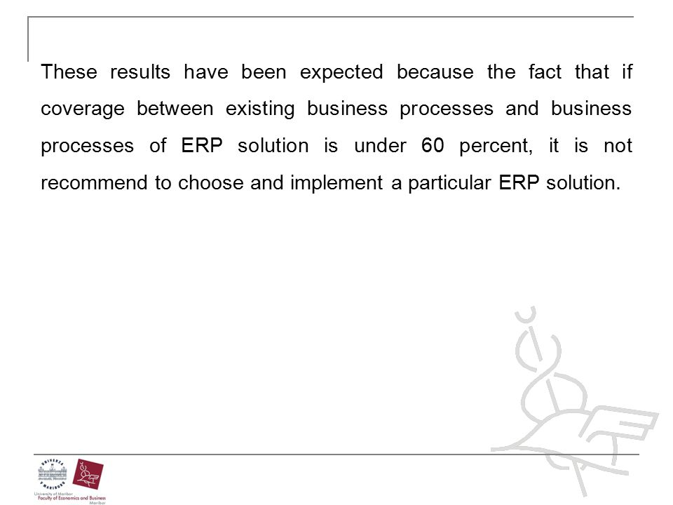 These results have been expected because the fact that if coverage between existing business processes and business processes of ERP solution is under