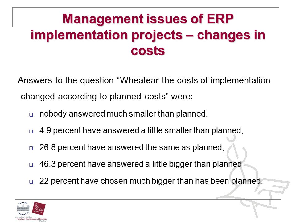"Management issues of ERP implementation projects – changes in costs Answers to the question ""Wheatear the costs of implementation changed according to"