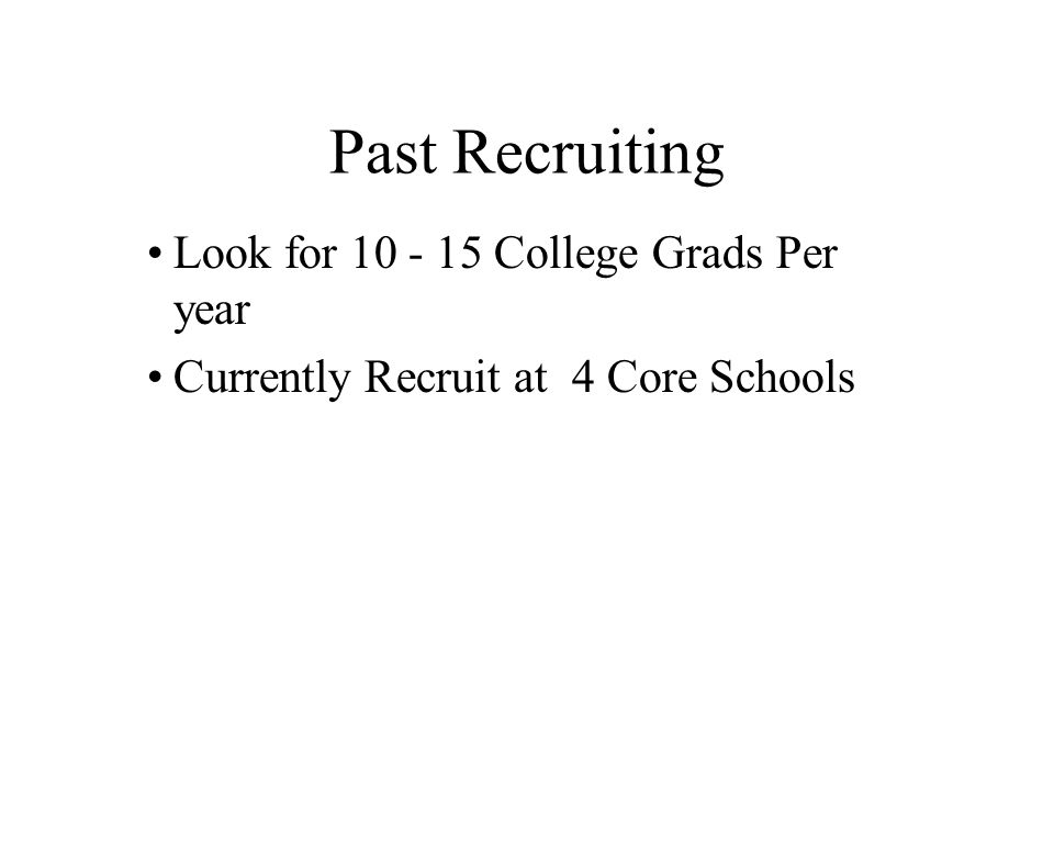Past Recruiting Look for 10 - 15 College Grads Per year Currently Recruit at 4 Core Schools