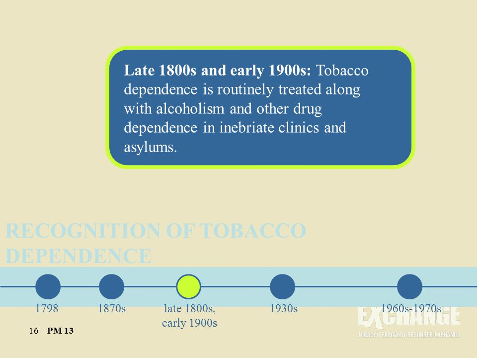 Late 1800s and early 1900s: Tobacco dependence is routinely treated along with alcoholism and other drug dependence in inebriate clinics and asylums.