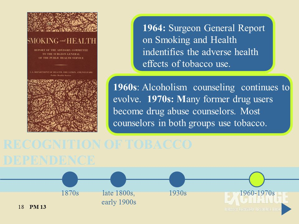 RECOGNITION OF TOBACCO DEPENDENCE 1870s late 1800s, early 1900s 1930s1960-1970s 1964: Surgeon General Report on Smoking and Health indentifies the adverse health effects of tobacco use.