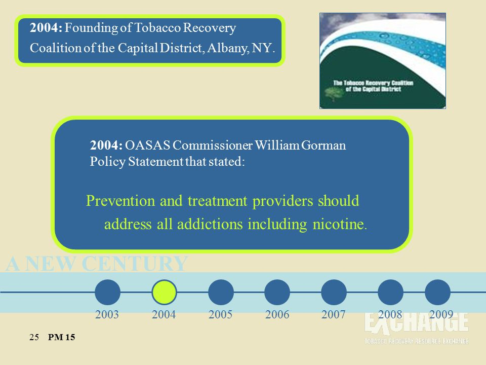 A NEW CENTURY 2004: Founding of Tobacco Recovery Coalition of the Capital District, Albany, NY.