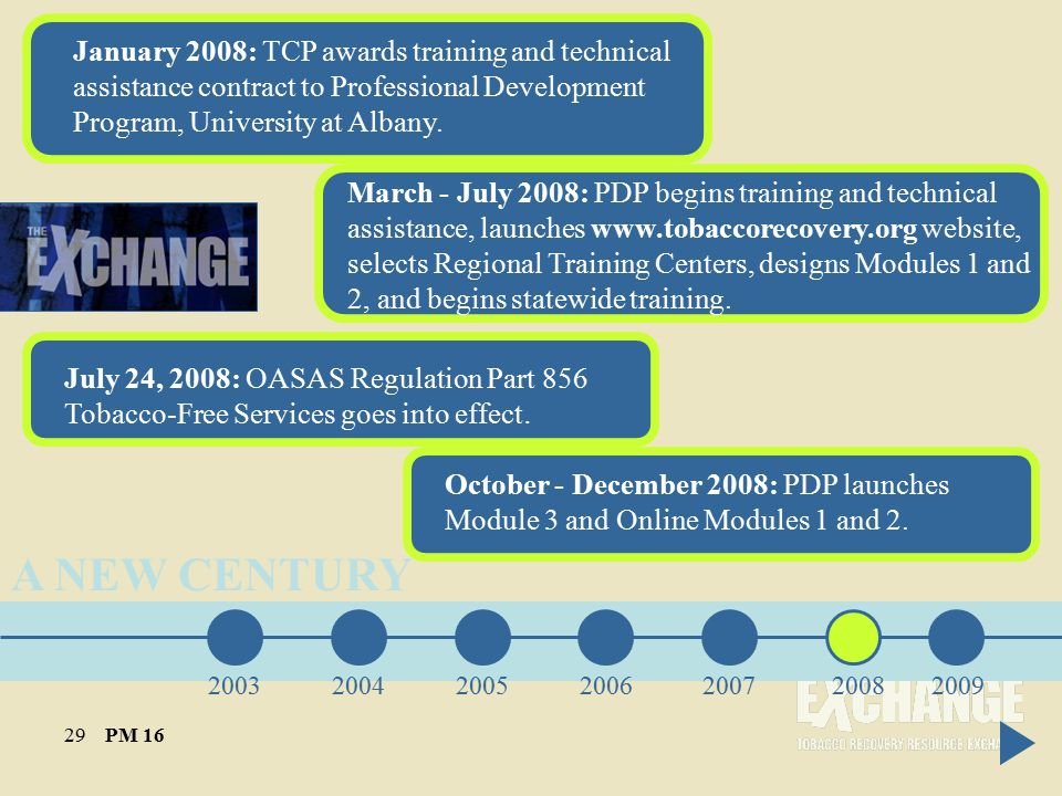A NEW CENTURY January 2008: TCP awards training and technical assistance contract to Professional Development Program, University at Albany.