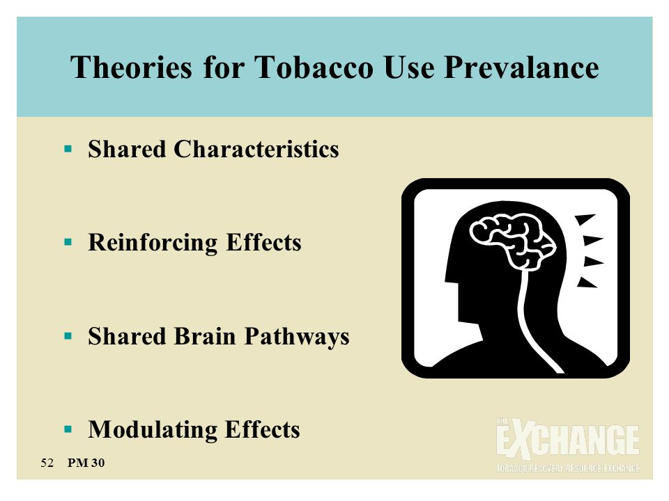 52 PM 30 Theories for Tobacco Use Prevalance  Shared Characteristics  Reinforcing Effects  Shared Brain Pathways  Modulating Effects