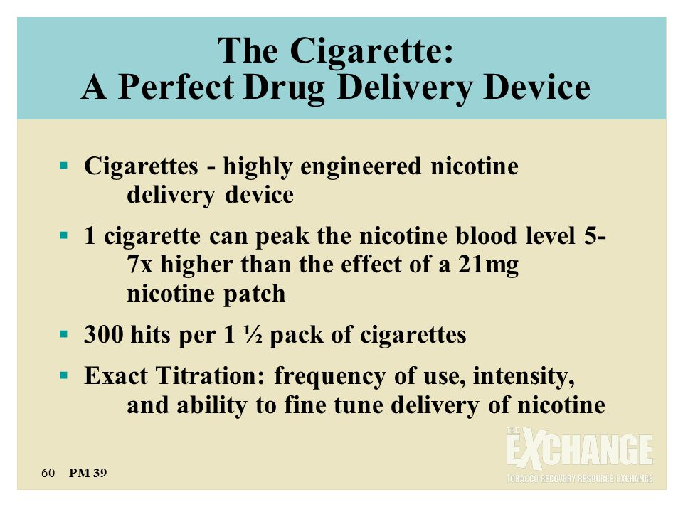 60 PM 39 The Cigarette: A Perfect Drug Delivery Device  Cigarettes - highly engineered nicotine delivery device  1 cigarette can peak the nicotine blood level 5- 7x higher than the effect of a 21mg nicotine patch  300 hits per 1 ½ pack of cigarettes  Exact Titration: frequency of use, intensity, and ability to fine tune delivery of nicotine