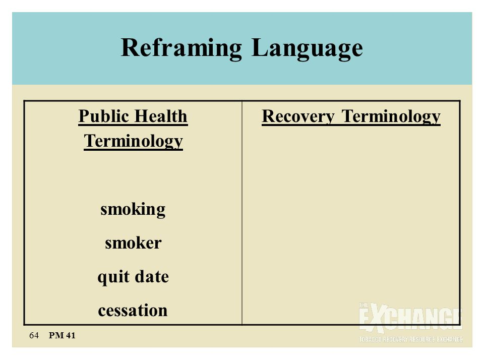 64 PM 41 Reframing Language Public Health Terminology smoking smoker quit date cessation Recovery Terminology