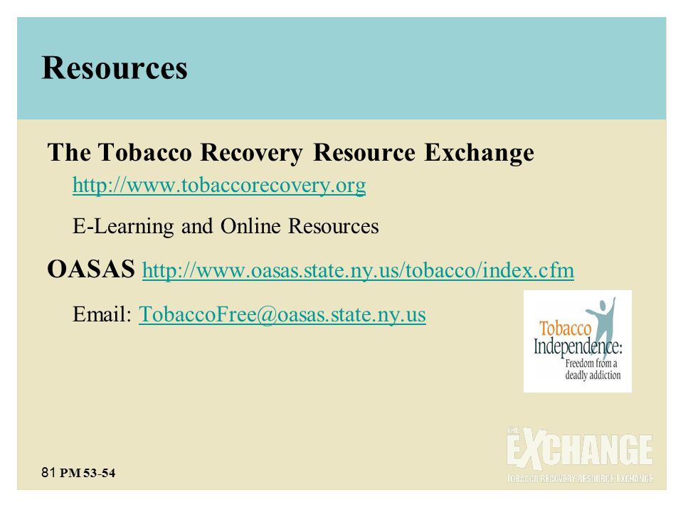 81 PM 53-54 Resources The Tobacco Recovery Resource Exchange http://www.tobaccorecovery.org http://www.tobaccorecovery.org E-Learning and Online Resources OASAS http://www.oasas.state.ny.us/tobacco/index.cfm http://www.oasas.state.ny.us/tobacco/index.cfm Email: TobaccoFree@oasas.state.ny.usTobaccoFree@oasas.state.ny.us