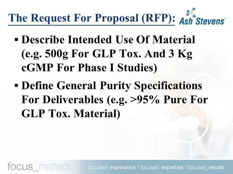 The Request For Proposal (RFP):  Describe Intended Use Of Material (e.g.