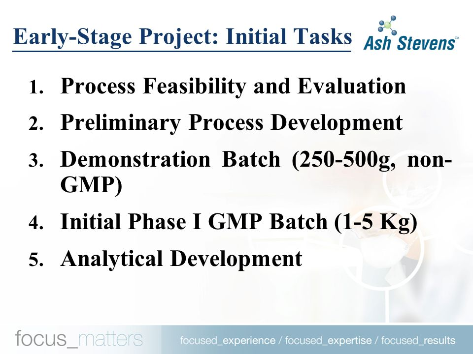 Early-Stage Project: Initial Tasks 1. Process Feasibility and Evaluation 2.