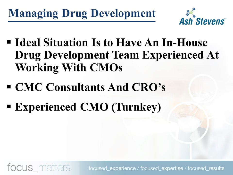 Managing Drug Development  Ideal Situation Is to Have An In-House Drug Development Team Experienced At Working With CMOs  CMC Consultants And CRO's  Experienced CMO (Turnkey)