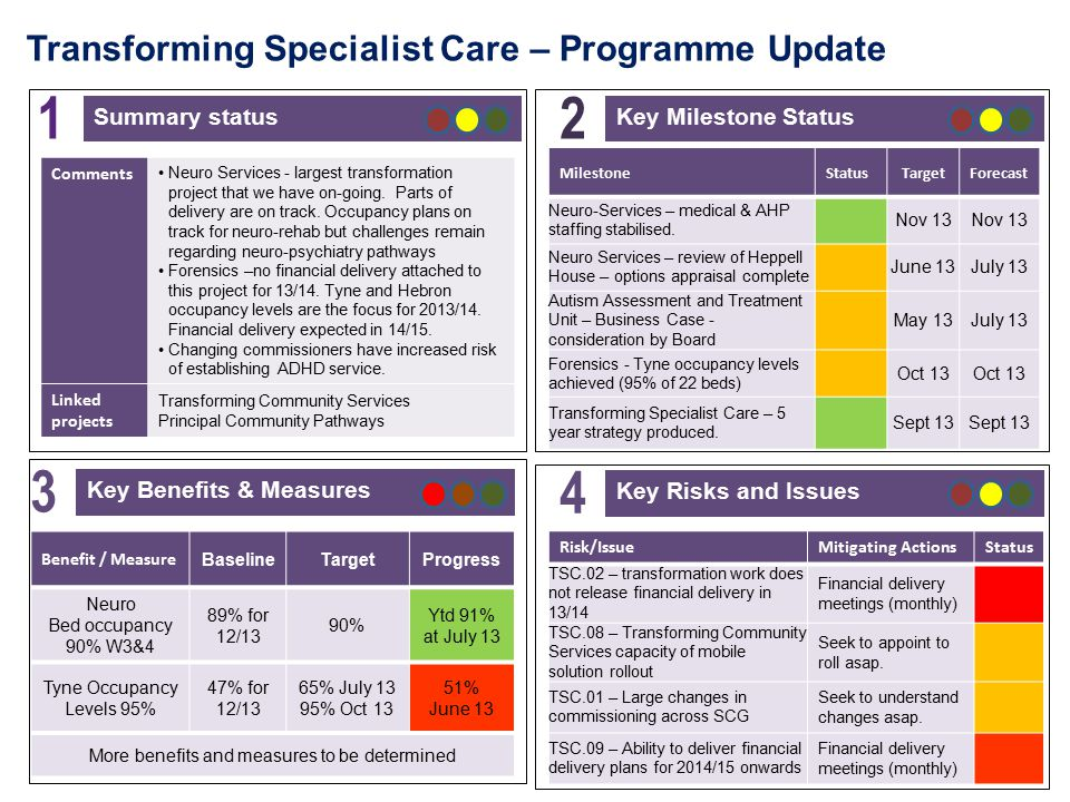 Transforming Specialist Care – Programme Update Key Milestone Status 2 Key Risks and Issues 4 Key Benefits & Measures 3 Summary status 1 Risk/IssueMitigating ActionsStatus TSC.02 – transformation work does not release financial delivery in 13/14 Financial delivery meetings (monthly) TSC.08 – Transforming Community Services capacity of mobile solution rollout Seek to appoint to roll asap.