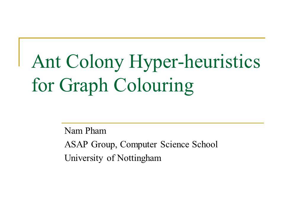 Nam Pham Overview Hyper-heuristic Framework Problem Description Hyper-heuristic design for the problem An ant colony hyper-heuristic approach and experimental results Future works