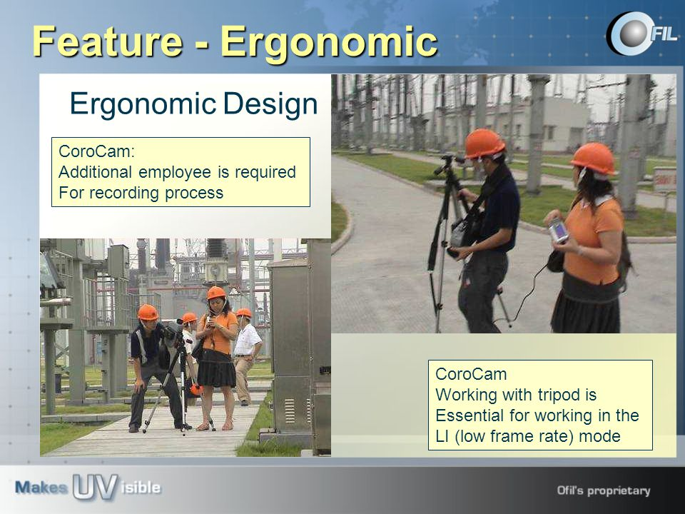 Ergonomic Design CoroCam: Additional employee is required For recording process CoroCam Working with tripod is Essential for working in the LI (low frame rate) mode Feature - Ergonomic