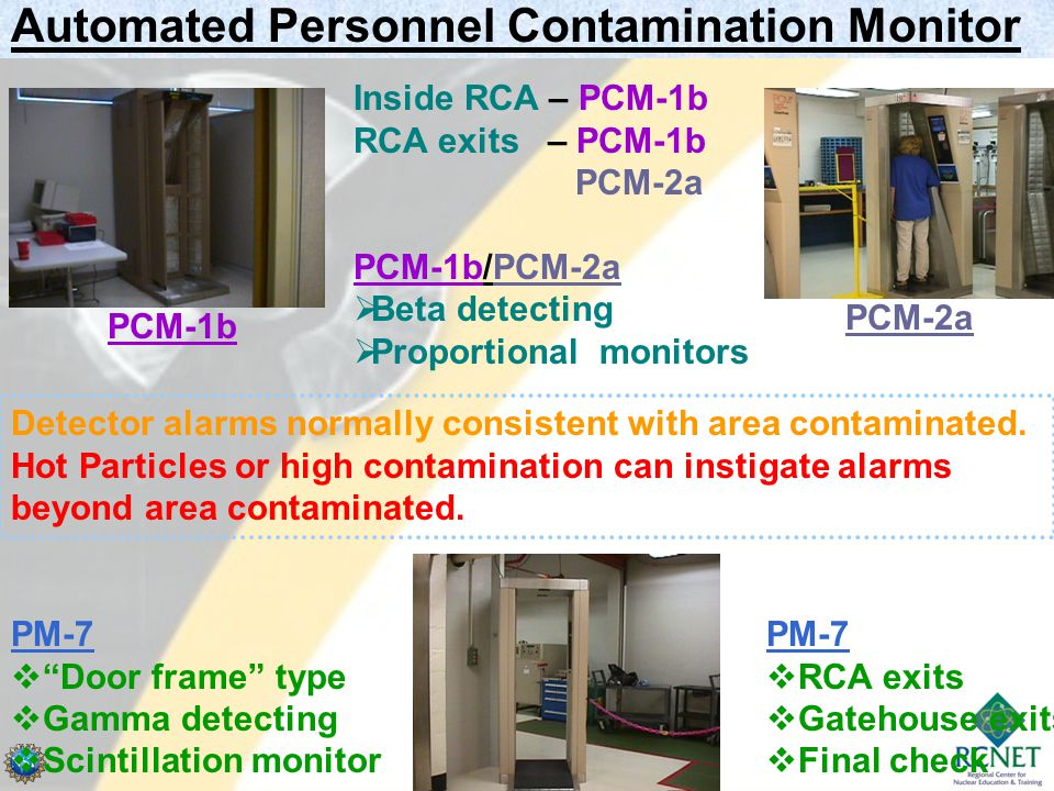 Automated Personnel Contamination Monitor Inside RCA – PCM-1b RCA exits – PCM-1b PCM-2a PCM-1b/PCM-2a  Beta detecting  Proportional monitors PCM-1b PCM-2a Detector alarms normally consistent with area contaminated.