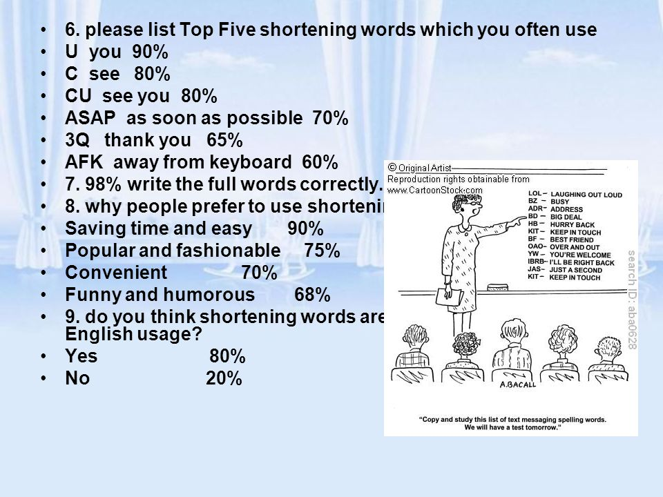 6. please list Top Five shortening words which you often use U you 90% C see 80% CU see you 80% ASAP as soon as possible 70% 3Q thank you 65% AFK away