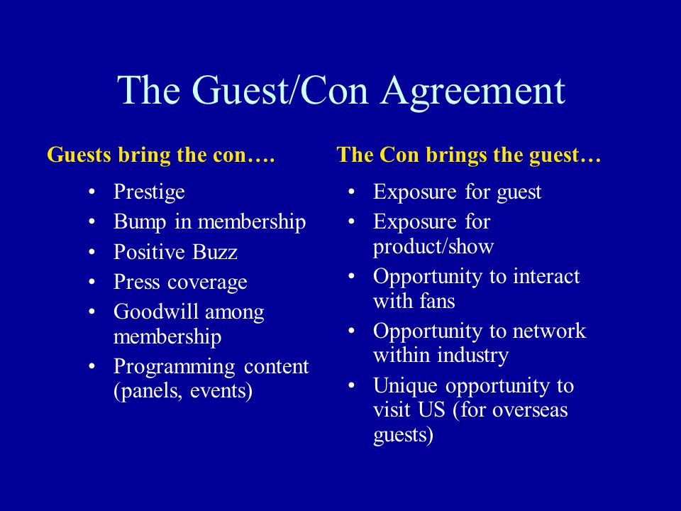 The Guest/Con Agreement Prestige Bump in membership Positive Buzz Press coverage Goodwill among membership Programming content (panels, events) Exposu