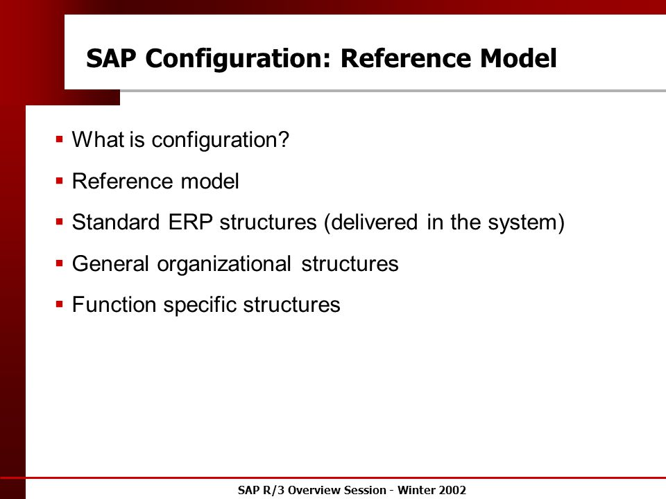 SAP R/3 Overview Session - Winter 2002 SAP Configuration: Reference Model  What is configuration.