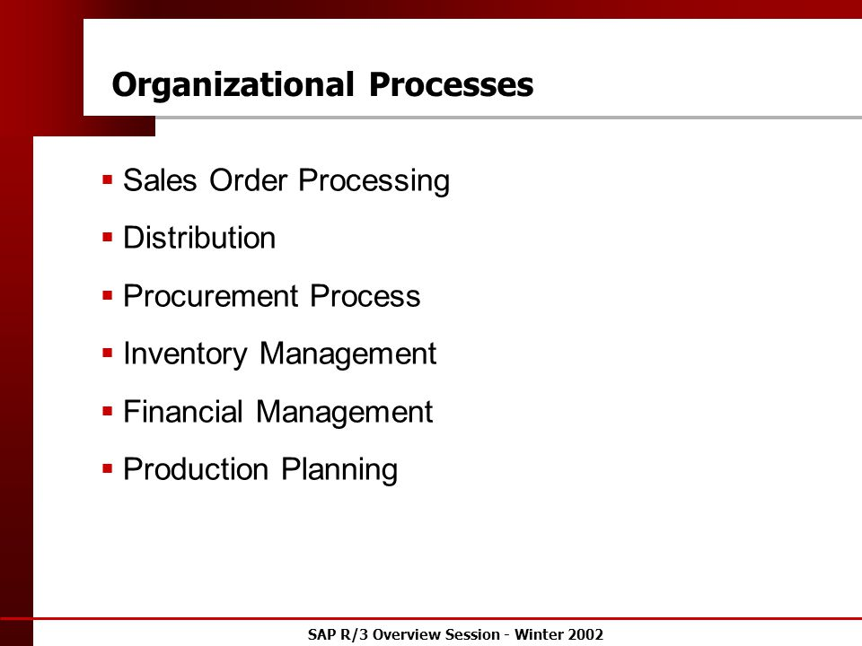 SAP R/3 Overview Session - Winter 2002 Organizational Processes  Sales Order Processing  Distribution  Procurement Process  Inventory Management  Financial Management  Production Planning