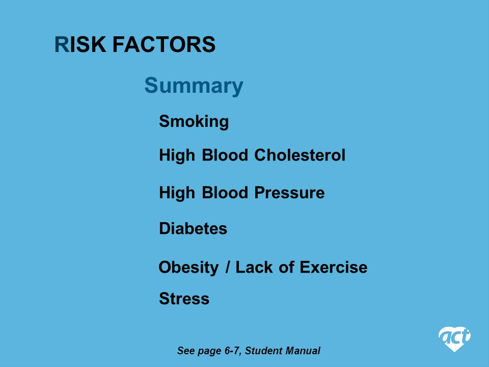 Summary See page 6-7, Student Manual Smoking High Blood Cholesterol High Blood Pressure Diabetes Obesity / Lack of Exercise Stress RISK FACTORS
