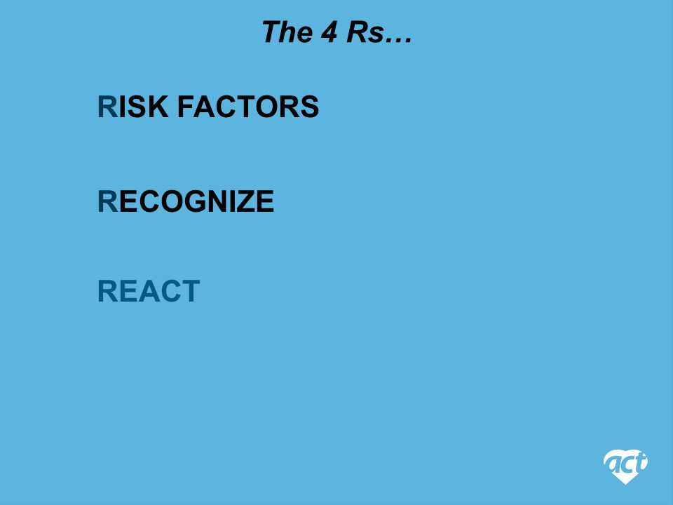 RISK FACTORS The 4 Rs… REACT