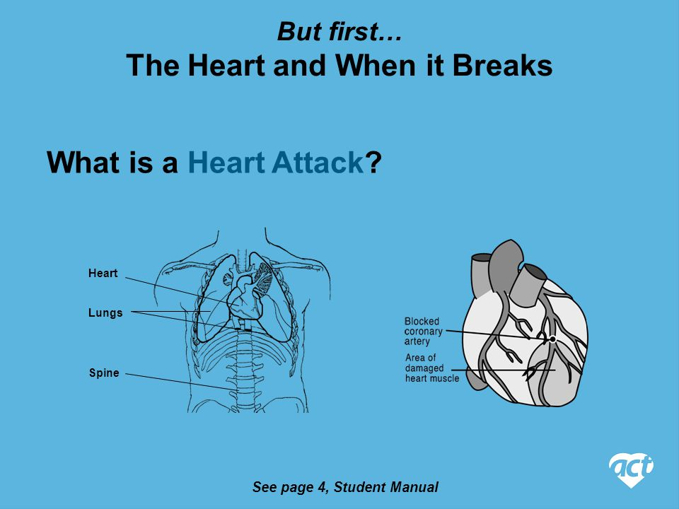 See pages 4-5, Student Manual The Heart and When it Breaks What is Cardiac Arrest.