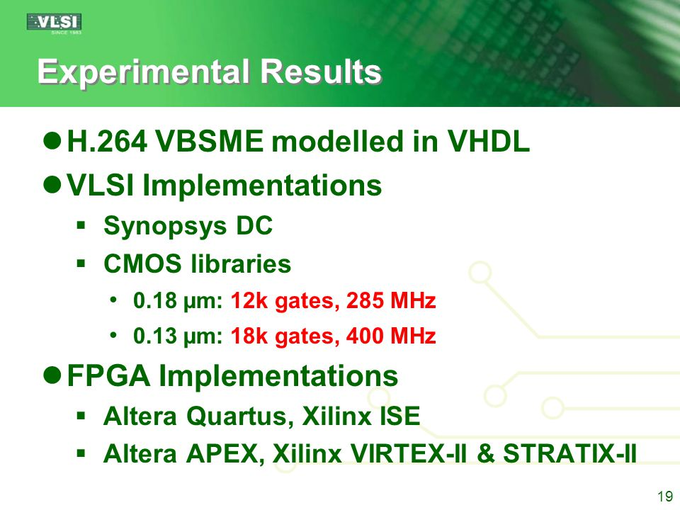 VLSI Implementation MB Processing Time (MBPT)  SR: Search Range  T: MB SAD cycles  N: # of PEs 20 ~20-25% reduction