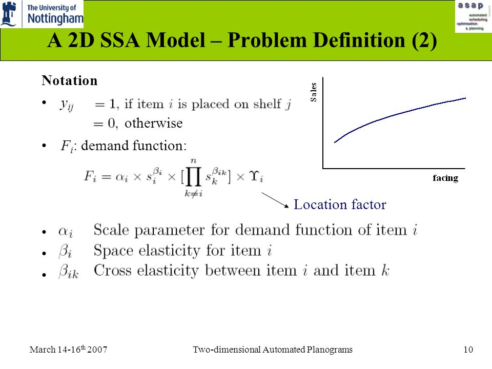 March 14-16 th 2007Two-dimensional Automated Planograms10 A 2D SSA Model – Problem Definition (2) Notation y ij F i : demand function: A D c Location factor otherwise
