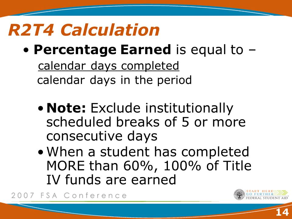14 R2T4 Calculation Percentage Earned is equal to – calendar days completed calendar days in the period Note: Exclude institutionally scheduled breaks of 5 or more consecutive days When a student has completed MORE than 60%, 100% of Title IV funds are earned