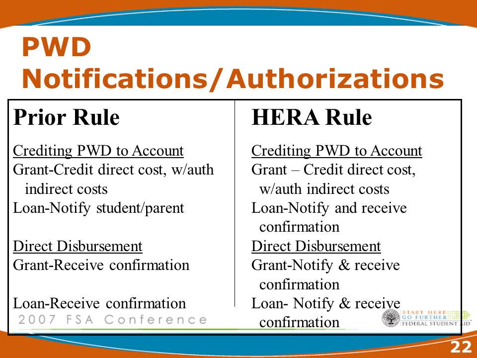 22 PWD Notifications/Authorizations Prior RuleHERA RuleCrediting PWD to Account Grant-Credit direct cost, w/authGrant – Credit direct cost, indirect costs w/auth indirect costs Loan-Notify student/parentLoan-Notify and receive confirmationDirect Disbursement Grant-Receive confirmationGrant-Notify & receive confirmation Loan-Receive confirmationLoan- Notify & receive confirmation