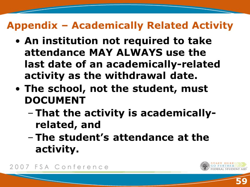 59 Appendix – Academically Related Activity An institution not required to take attendance MAY ALWAYS use the last date of an academically-related activity as the withdrawal date.