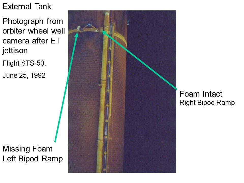 Missing Foam Left Bipod Ramp Foam Intact Right Bipod Ramp External Tank Photograph from orbiter wheel well camera after ET jettison Flight STS-50, June 25, 1992