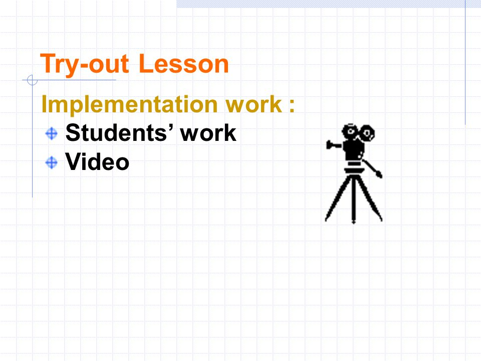 Try-out Lesson Implementation work : Students' work Video