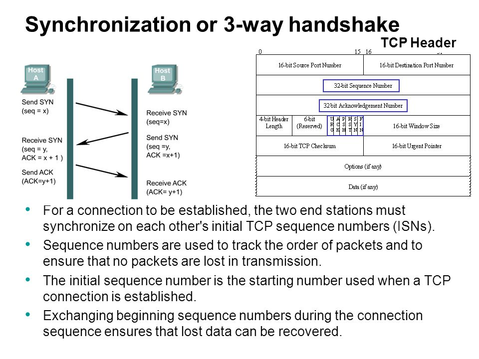 Synchronization or 3-way handshake For a connection to be established, the two end stations must synchronize on each other's initial TCP sequence numb