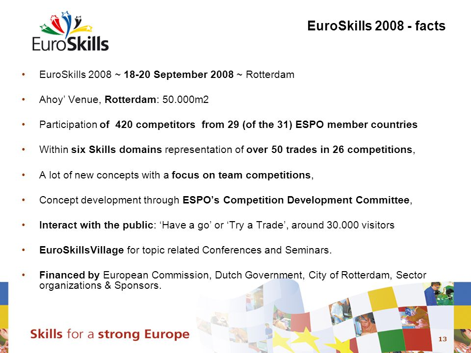 13 EuroSkills 2008 - facts EuroSkills 2008 ~ 18-20 September 2008 ~ Rotterdam Ahoy' Venue, Rotterdam: 50.000m2 Participation of 420 competitors from 29 (of the 31) ESPO member countries Within six Skills domains representation of over 50 trades in 26 competitions, A lot of new concepts with a focus on team competitions, Concept development through ESPO's Competition Development Committee, Interact with the public: 'Have a go' or 'Try a Trade', around 30.000 visitors EuroSkillsVillage for topic related Conferences and Seminars.