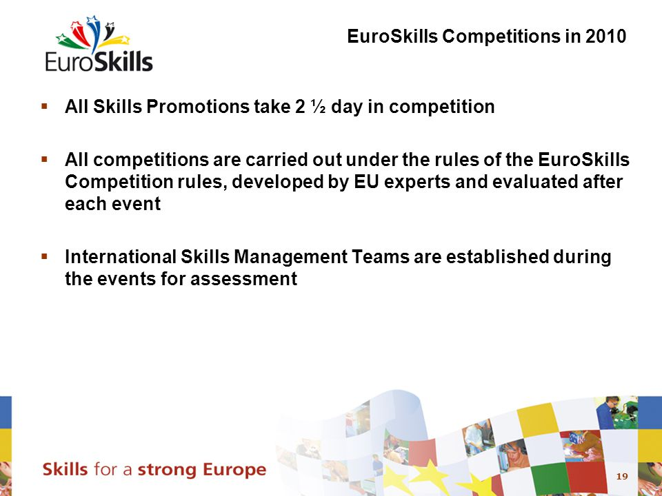 19 EuroSkills Competitions in 2010  All Skills Promotions take 2 ½ day in competition  All competitions are carried out under the rules of the EuroSkills Competition rules, developed by EU experts and evaluated after each event  International Skills Management Teams are established during the events for assessment