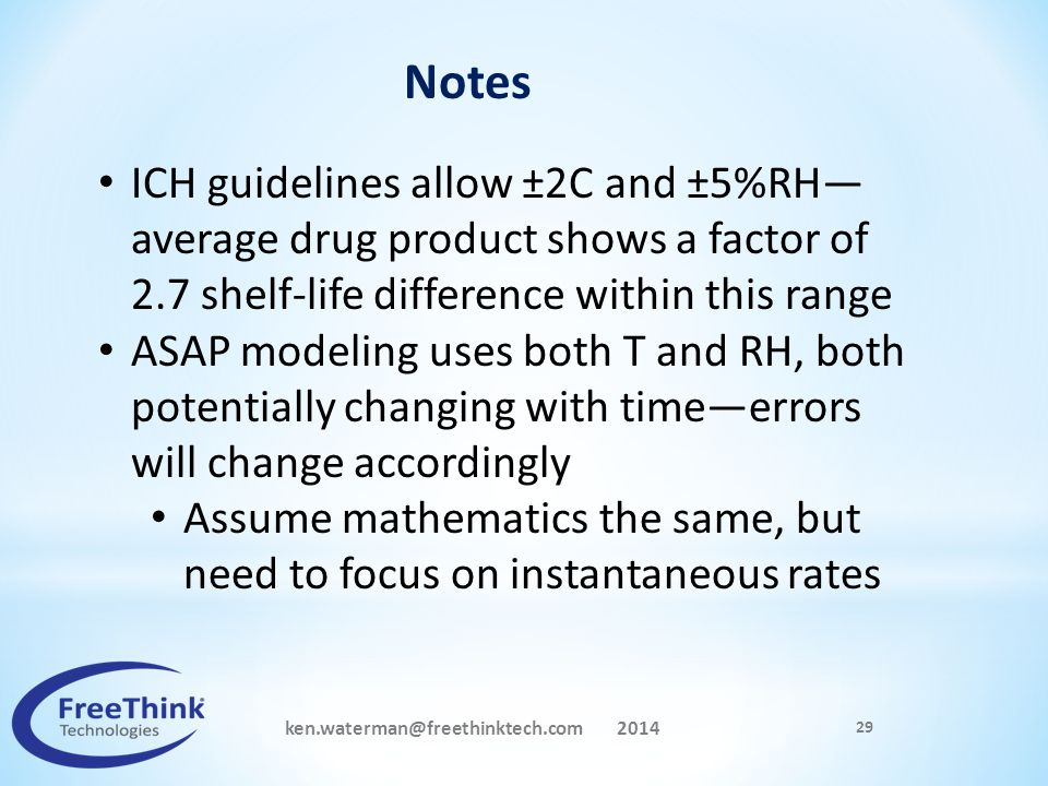 ken.waterman@freethinktech.com 2014 29 Notes ICH guidelines allow ±2C and ±5%RH— average drug product shows a factor of 2.7 shelf-life difference with