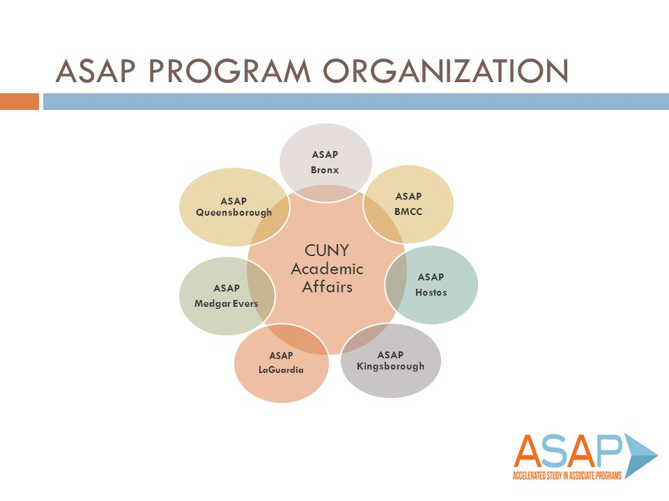 ASAP ROLES/RESPONSIBILITIES  Recruitment  Direct services to students  Monitoring student progress/engagement  Integration at college level CUNY Academic Affairs College Programs  Meet regularly to share data, information and best practices to influence program administration and be responsive to student needs  Coordinate program-wide activities: student leader program and professional development  Overall program administration  Program-wide evaluation  Fiscal oversight and reporting  Partnerships and fundraising  Citywide outreach