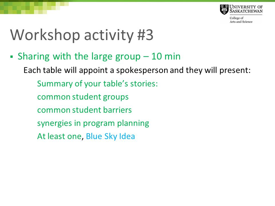 Workshop activity #3  Sharing with the large group – 10 min Each table will appoint a spokesperson and they will present: Summary of your table's stories: common student groups common student barriers synergies in program planning At least one, Blue Sky Idea