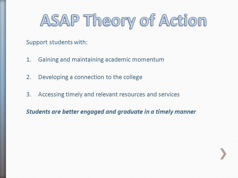 Support students with: 1.Gaining and maintaining academic momentum 2.Developing a connection to the college 3.Accessing timely and relevant resources