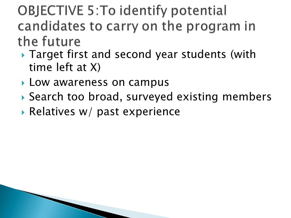  Target first and second year students (with time left at X)  Low awareness on campus  Search too broad, surveyed existing members  Relatives w/ p