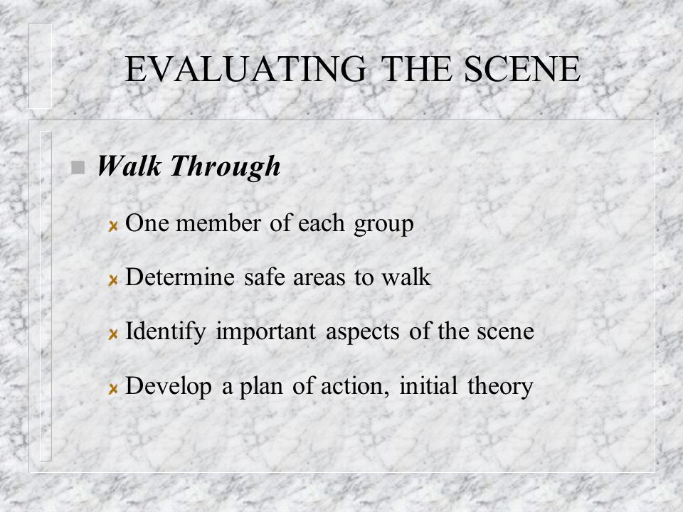 EVALUATING THE SCENE n Walk Through One member of each group Determine safe areas to walk Identify important aspects of the scene Develop a plan of action, initial theory