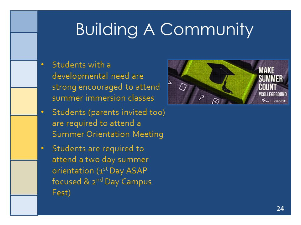 24 Building A Community Students with a developmental need are strong encouraged to attend summer immersion classes Students (parents invited too) are