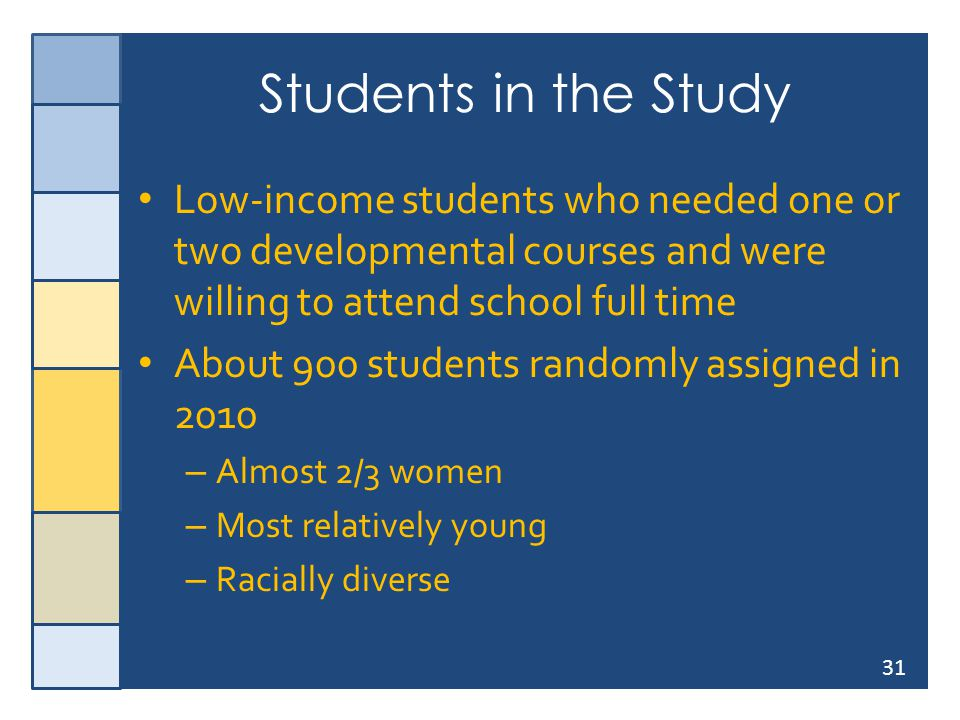 31 Students in the Study Low-income students who needed one or two developmental courses and were willing to attend school full time About 900 student