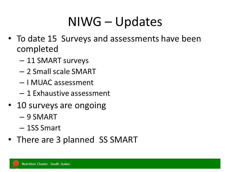 Nutrition Cluster - South Sudan NIWG – Updates To date 15 Surveys and assessments have been completed – 11 SMART surveys – 2 Small scale SMART – I MUAC assessment – 1 Exhaustive assessment 10 surveys are ongoing – 9 SMART – 1SS Smart There are 3 planned SS SMART