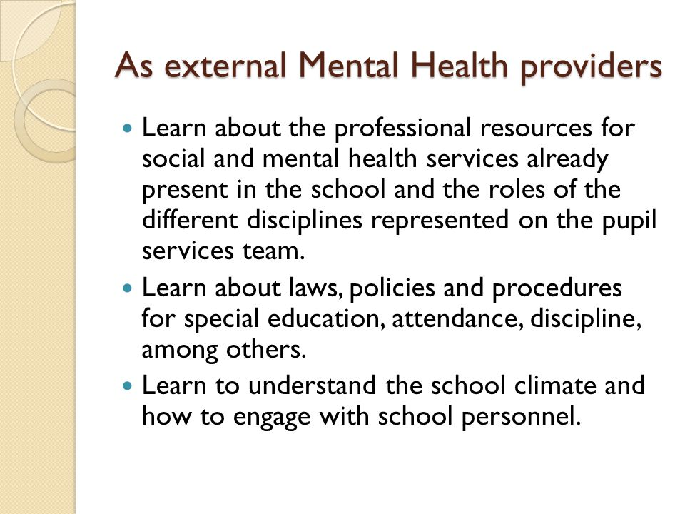 As external Mental Health providers Learn about the professional resources for social and mental health services already present in the school and the