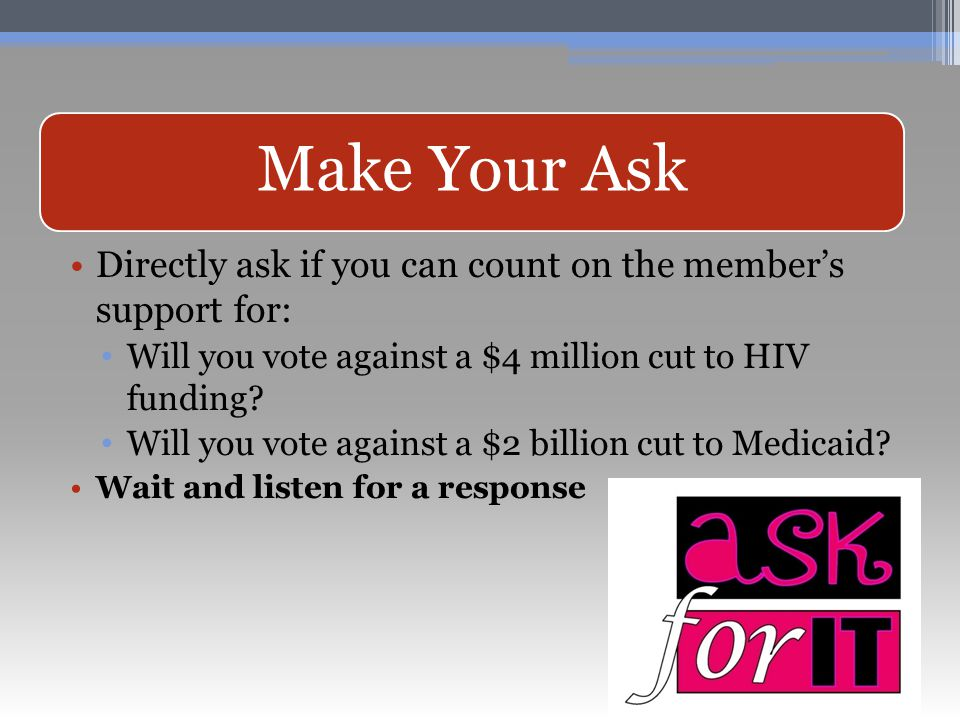 Directly ask if you can count on the member's support for: Will you vote against a $4 million cut to HIV funding.