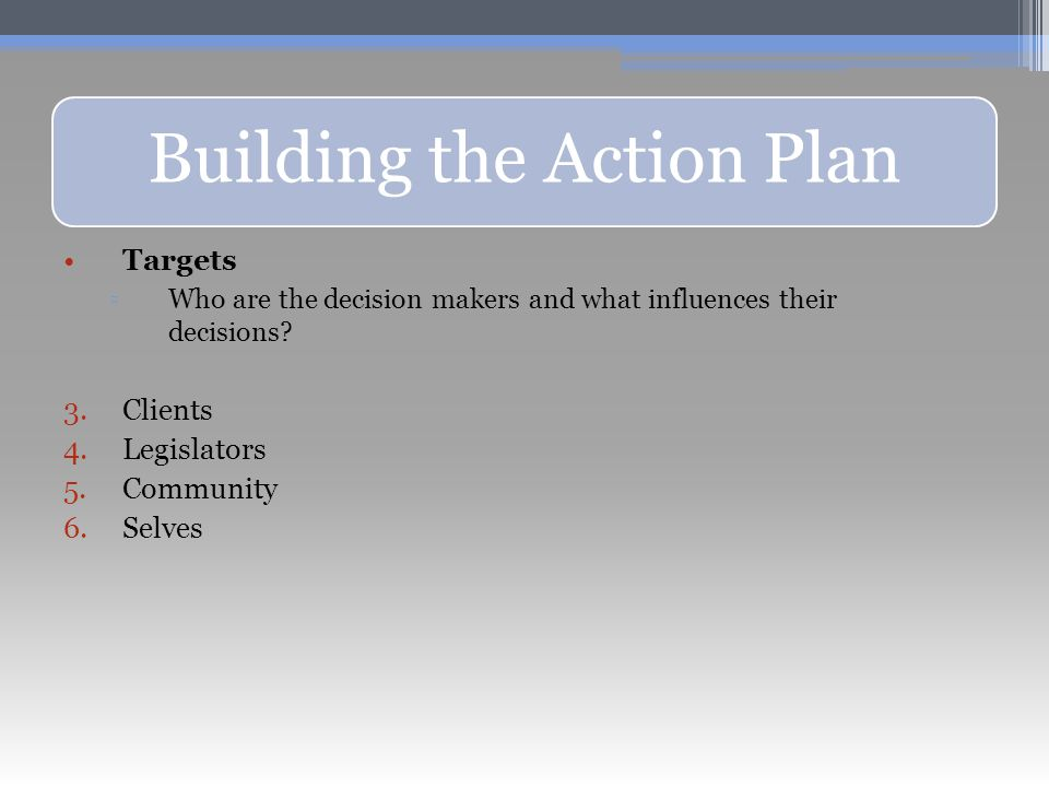Building the Action Plan Targets ▫Who are the decision makers and what influences their decisions.
