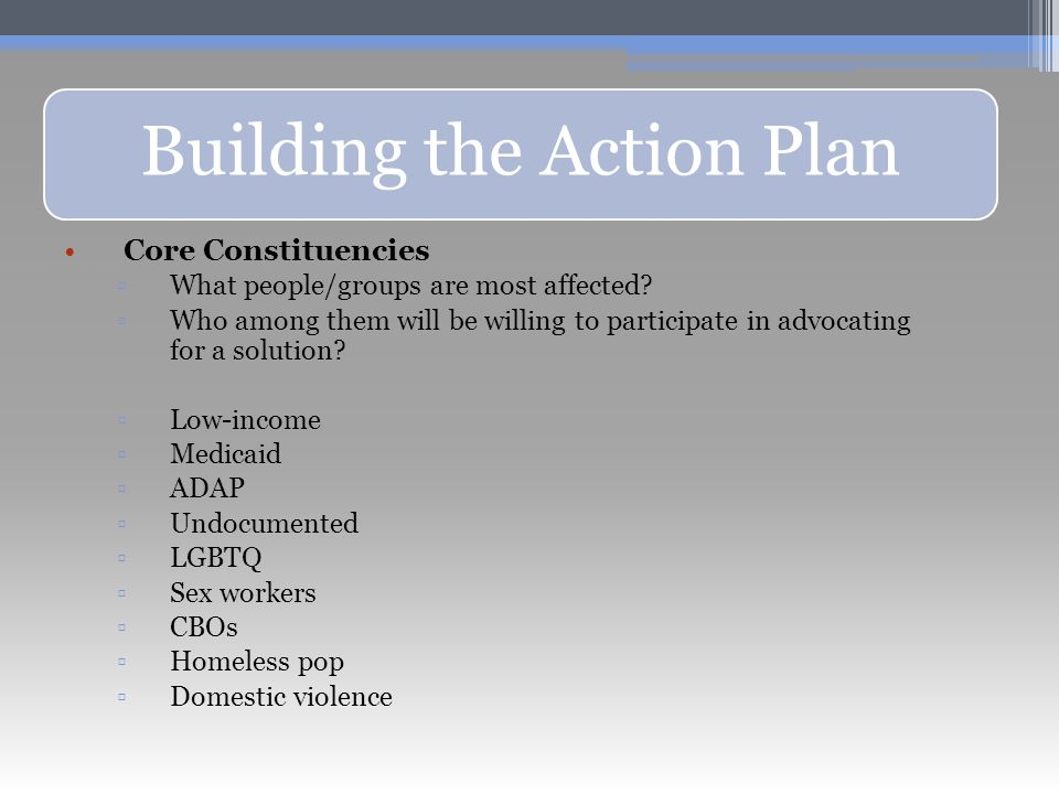 Building the Action Plan Core Constituencies ▫What people/groups are most affected.