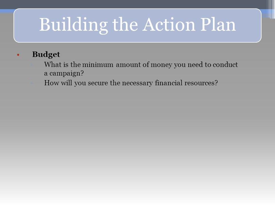 Building the Action Plan Budget ▫What is the minimum amount of money you need to conduct a campaign.
